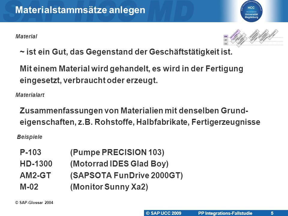 © SAP UCC 2009 PP Integrations-Fallstudie 5 Materialstammsätze anlegen Material ~ ist ein Gut, das Gegenstand der Geschäftstätigkeit ist. Mit einem Ma