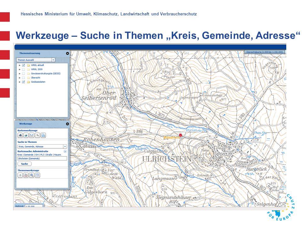 """Hessisches Ministerium für Umwelt, Klimaschutz, Landwirtschaft und Verbraucherschutz Werkzeuge – Suche in Themen """"WRRL-Gewässer Klick"""
