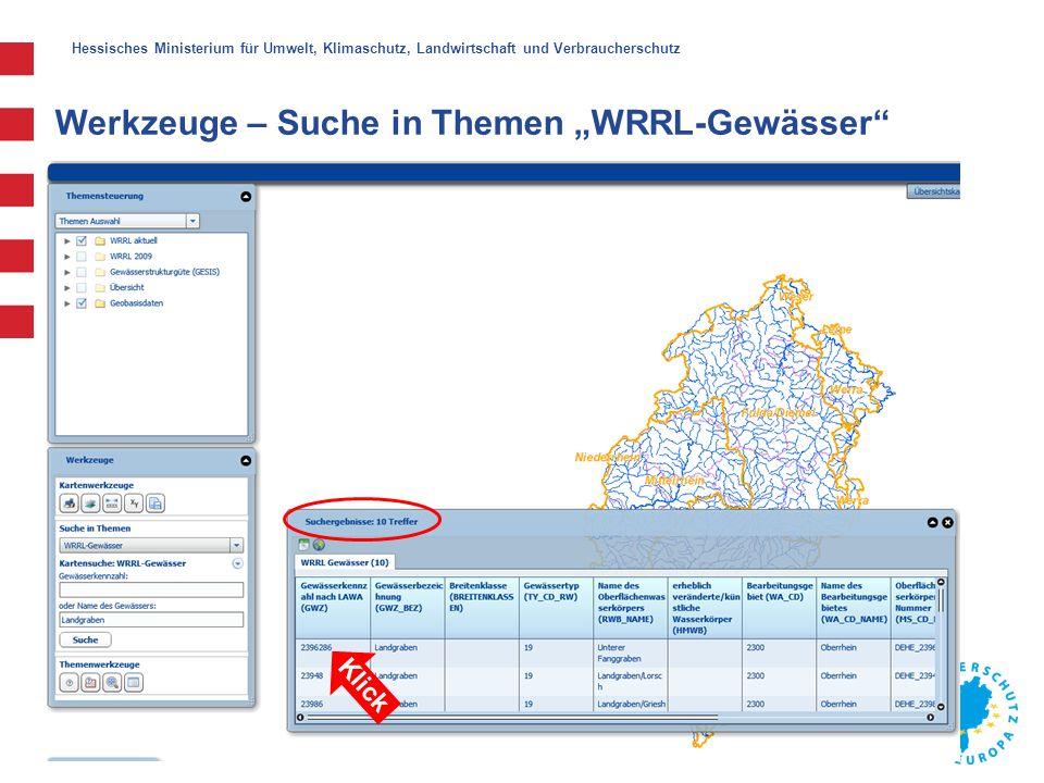 """Hessisches Ministerium für Umwelt, Klimaschutz, Landwirtschaft und Verbraucherschutz Klick Werkzeuge – Suche in Themen """"WRRL-Gewässer"""""""