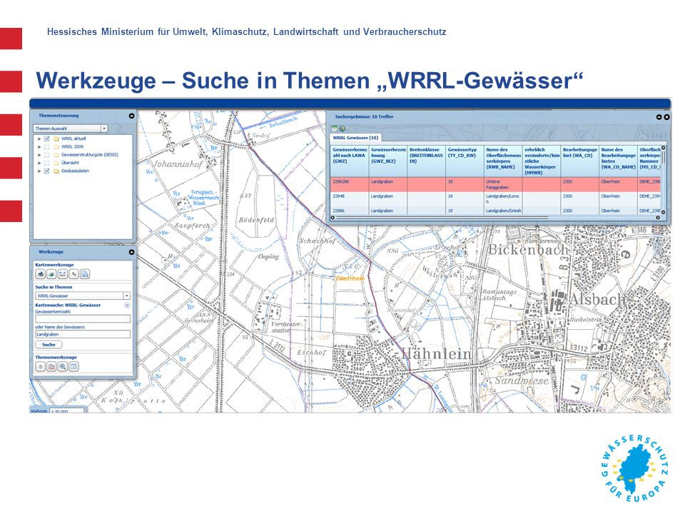 """Hessisches Ministerium für Umwelt, Klimaschutz, Landwirtschaft und Verbraucherschutz Werkzeuge – Suche in Themen """"WRRL-Gewässer"""""""