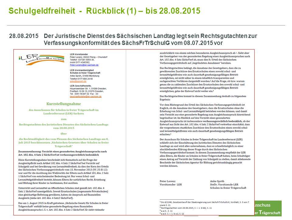 11 Schulgeldfreiheit - Rückblick (1) – bis 28.08.2015 Inhalt Last 28.08.2015Der Juristische Dienst des Sächsischen Landtag legt sein Rechtsgutachten zur Verfassungskonformität des SächsFrTrSchulG vom 08.07.2015 vor