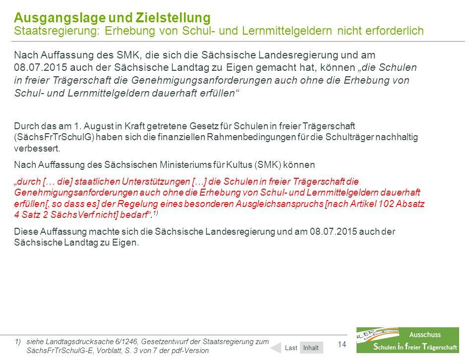 14 Ausgangslage und Zielstellung Staatsregierung: Erhebung von Schul- und Lernmittelgeldern nicht erforderlich Nach Auffassung des SMK, die sich die S