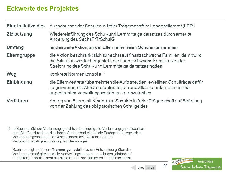20 Eckwerte des Projektes Eine Initiative desAusschusses der Schulen in freier Trägerschaft im Landeselternrat (LER) ZielsetzungWiedereinführung des S