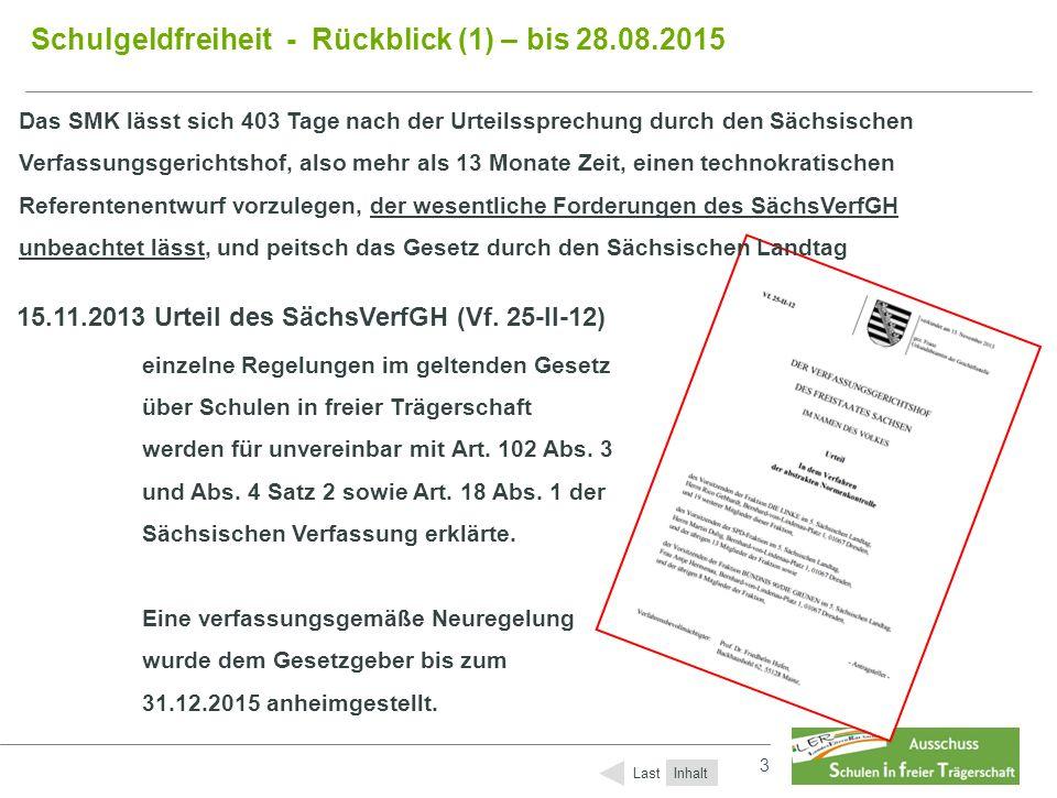 3 3 Schulgeldfreiheit - Rückblick (1) – bis 28.08.2015 Das SMK lässt sich 403 Tage nach der Urteilssprechung durch den Sächsischen Verfassungsgerichtshof, also mehr als 13 Monate Zeit, einen technokratischen Referentenentwurf vorzulegen, der wesentliche Forderungen des SächsVerfGH unbeachtet lässt, und peitsch das Gesetz durch den Sächsischen Landtag Inhalt Last 23.12.2014 (403 Tage nach dem Urt.