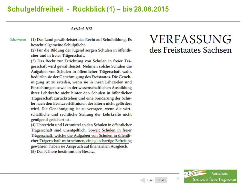 4 4 Schulgeldfreiheit - Rückblick (1) – bis 28.08.2015 Inhalt Last