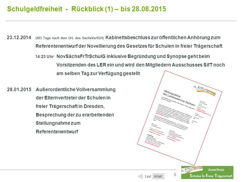 5 5 Schulgeldfreiheit - Rückblick (1) – bis 28.08.2015 Inhalt Last 23.12.2014 (403 Tage nach dem Urt. des SächsVerfGH) Kabinettsbeschluss zur öffentli