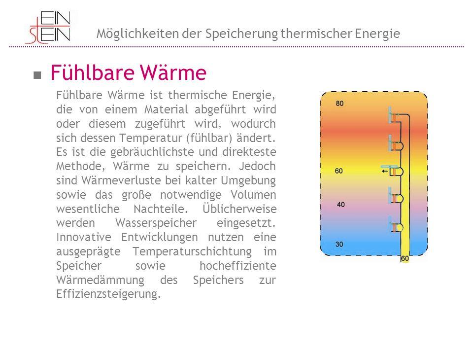 Fühlbare Wärme Fühlbare Wärme ist thermische Energie, die von einem Material abgeführt wird oder diesem zugeführt wird, wodurch sich dessen Temperatur