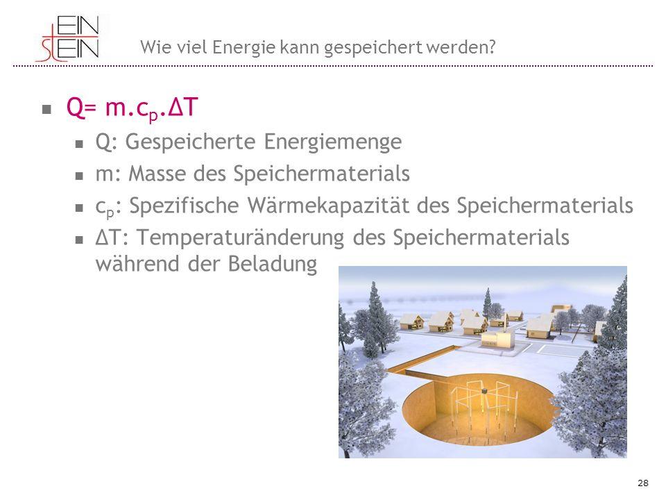 Q= m.c p.ΔΤ Q: Gespeicherte Energiemenge m: Masse des Speichermaterials c p : Spezifische Wärmekapazität des Speichermaterials ΔT: Temperaturänderung