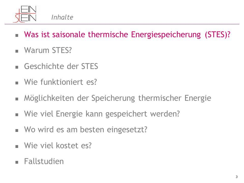 Inhalte Was ist saisonale thermische Energiespeicherung (STES)? Warum STES? Geschichte der STES Wie funktioniert es? Möglichkeiten der Speicherung the