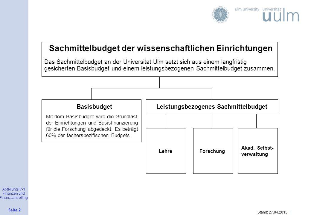 Abteilung IV-1 Finanzen und Finanzcontrolling Seite 2 Stand: 27.04.2015 Sachmittelbudget der wissenschaftlichen Einrichtungen Das Sachmittelbudget an
