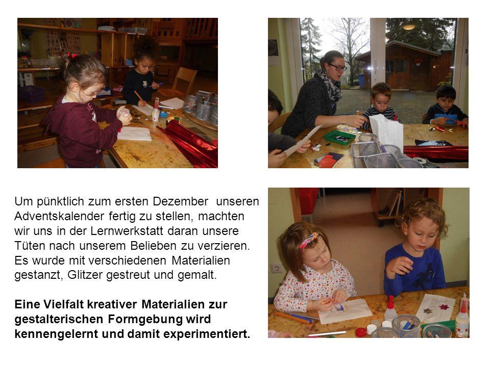 Um pünktlich zum ersten Dezember unseren Adventskalender fertig zu stellen, machten wir uns in der Lernwerkstatt daran unsere Tüten nach unserem Belieben zu verzieren.