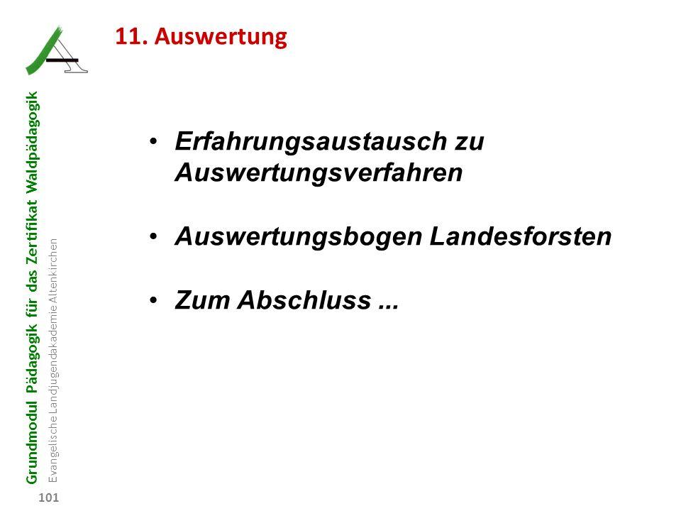 Grundmodul Pädagogik für das Zertifikat Waldpädagogik Evangelische Landjugendakademie Altenkirchen 101 11. Auswertung Erfahrungsaustausch zu Auswertun