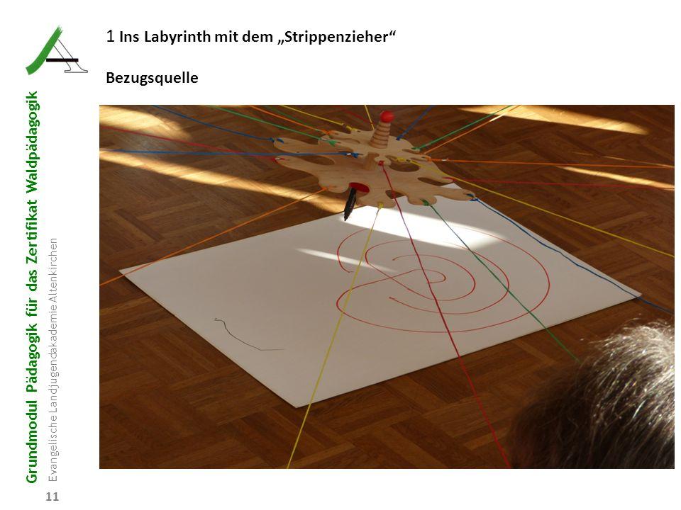 """Grundmodul Pädagogik für das Zertifikat Waldpädagogik Evangelische Landjugendakademie Altenkirchen 11 1 Ins Labyrinth mit dem """"Strippenzieher"""" Bezugsq"""