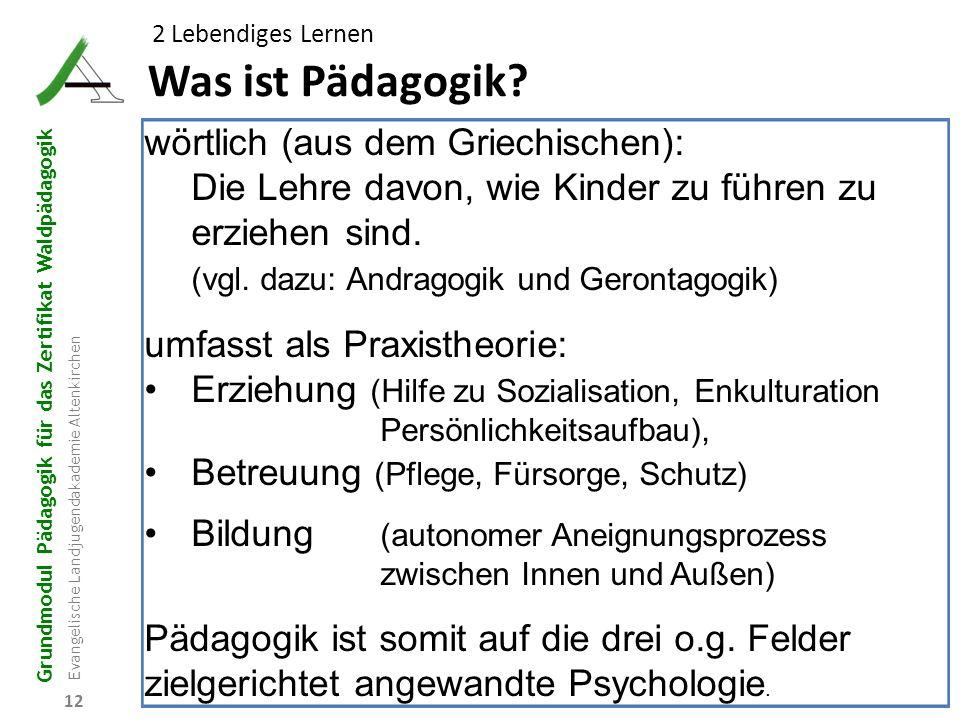 Grundmodul Pädagogik für das Zertifikat Waldpädagogik Evangelische Landjugendakademie Altenkirchen 12 Was ist Pädagogik? 2 Lebendiges Lernen wörtlich