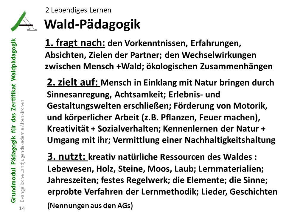 Grundmodul Pädagogik für das Zertifikat Waldpädagogik Evangelische Landjugendakademie Altenkirchen 14 Wald-Pädagogik 2 Lebendiges Lernen 1. fragt nach
