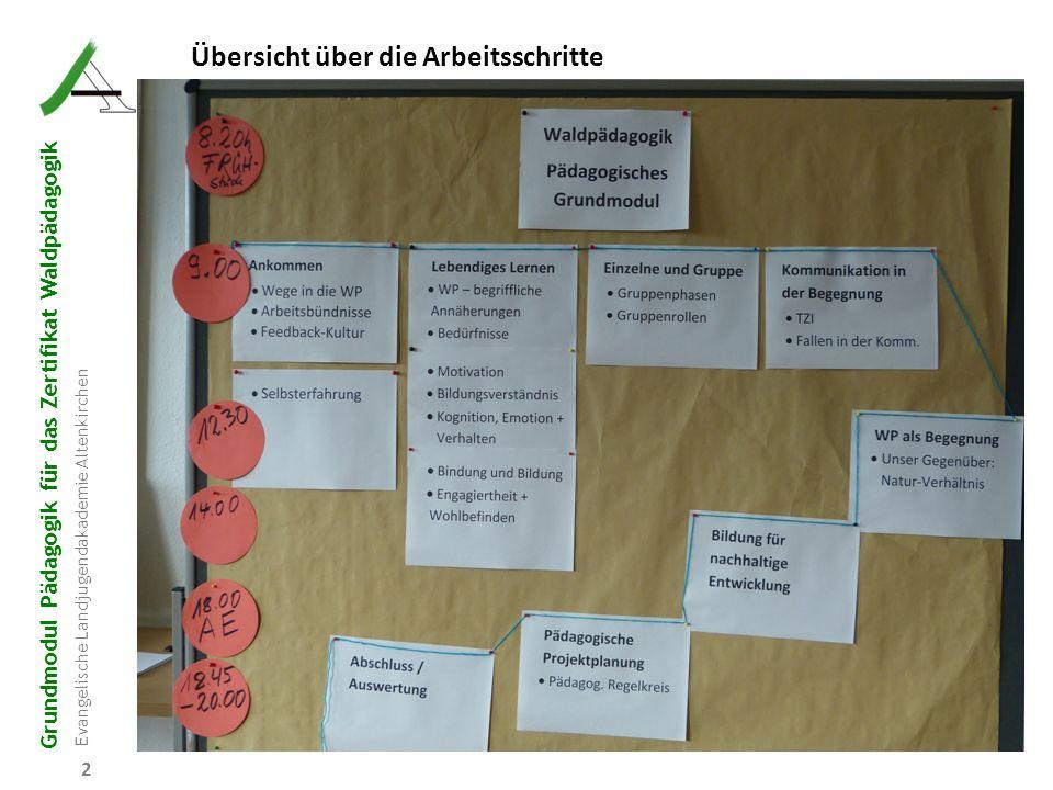Grundmodul Pädagogik für das Zertifikat Waldpädagogik Evangelische Landjugendakademie Altenkirchen 93 9 Projektarbeit 9.6 Arbeitsauftrag Entwickeln Sie mit Hilfe des Regelkreises ein erstes Nachmittags-Wald-Projekt von 2 Stunden für eine jeweils 12-köpfige a) Kindergartengruppe (4-5 J) b) CVJM-Kindergruppe (9-11 J) c) Gruppe Jugendclub (13–15 J) in einem Mischwald (Plenterwald).