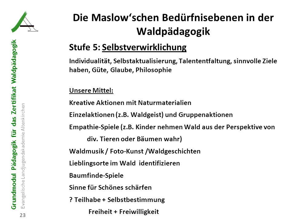 Grundmodul Pädagogik für das Zertifikat Waldpädagogik Evangelische Landjugendakademie Altenkirchen Die Maslow'schen Bedürfnisebenen in der Waldpädagog