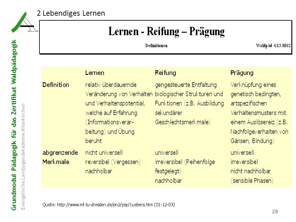 Grundmodul Pädagogik für das Zertifikat Waldpädagogik Evangelische Landjugendakademie Altenkirchen 29 2 Lebendiges Lernen