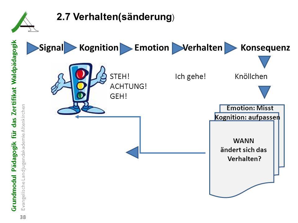Grundmodul Pädagogik für das Zertifikat Waldpädagogik Evangelische Landjugendakademie Altenkirchen 38 Signal Kognition Emotion Verhalten Konsequenz ST