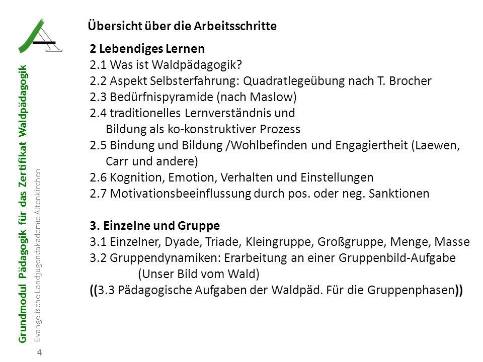 Grundmodul Pädagogik für das Zertifikat Waldpädagogik Evangelische Landjugendakademie Altenkirchen 5 5 Übersicht über die Arbeitsschritte 4.