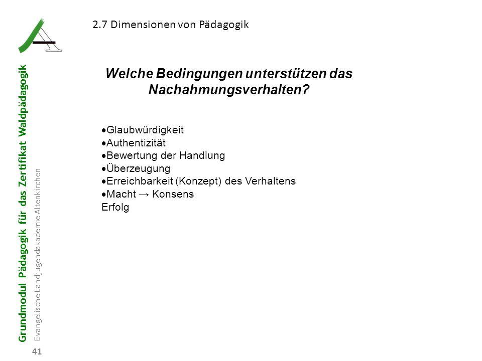 Grundmodul Pädagogik für das Zertifikat Waldpädagogik Evangelische Landjugendakademie Altenkirchen 41 2.7 Dimensionen von Pädagogik Welche Bedingungen