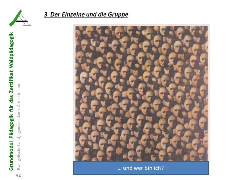 Grundmodul Pädagogik für das Zertifikat Waldpädagogik Evangelische Landjugendakademie Altenkirchen 42 3 Der Einzelne und die Gruppe … und wer bin ich?