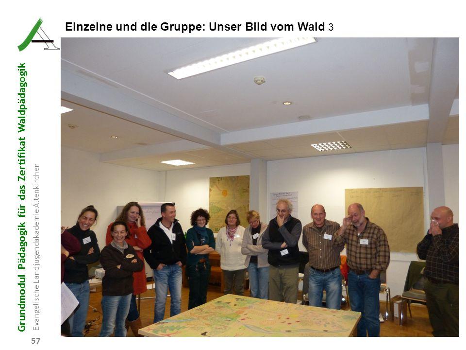 Grundmodul Pädagogik für das Zertifikat Waldpädagogik Evangelische Landjugendakademie Altenkirchen 57 Einzelne und die Gruppe: Unser Bild vom Wald 3