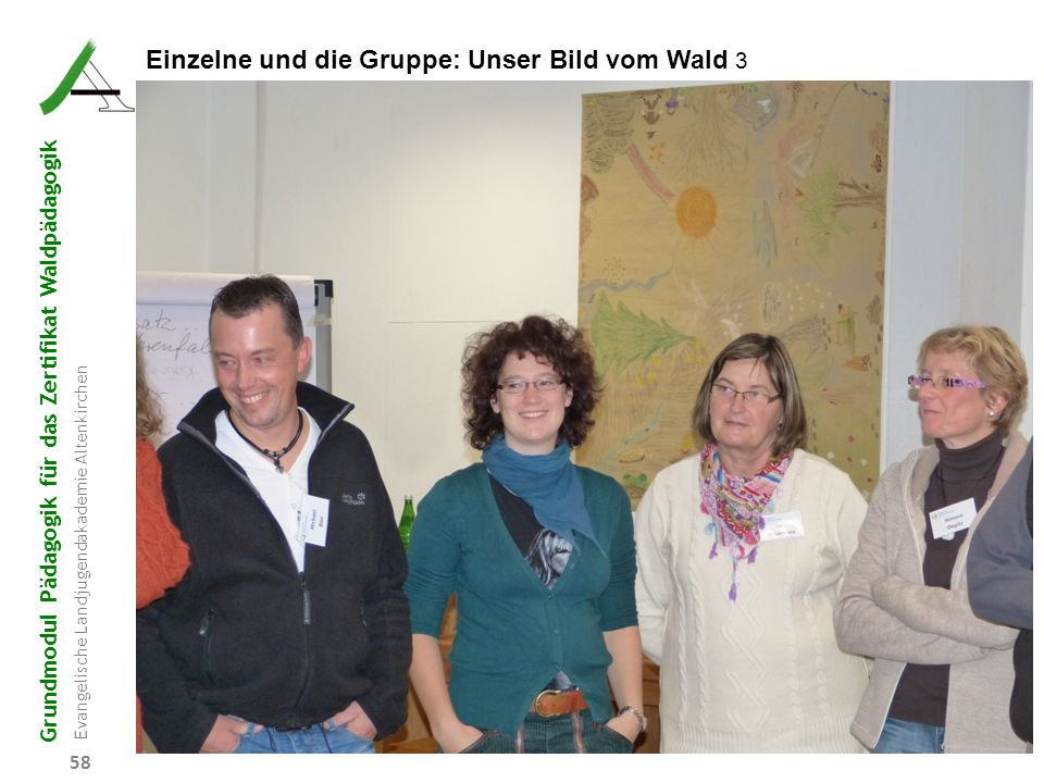 Grundmodul Pädagogik für das Zertifikat Waldpädagogik Evangelische Landjugendakademie Altenkirchen 58 Einzelne und die Gruppe: Unser Bild vom Wald 3