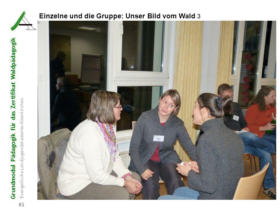 Grundmodul Pädagogik für das Zertifikat Waldpädagogik Evangelische Landjugendakademie Altenkirchen 61 Einzelne und die Gruppe: Unser Bild vom Wald 3