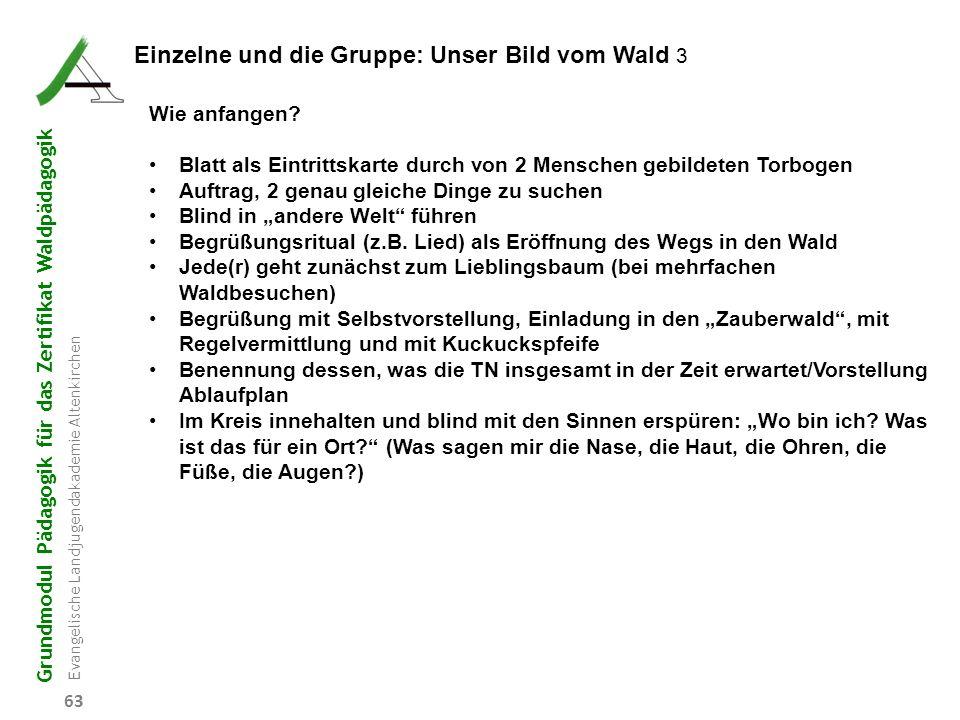 Grundmodul Pädagogik für das Zertifikat Waldpädagogik Evangelische Landjugendakademie Altenkirchen 63 Einzelne und die Gruppe: Unser Bild vom Wald 3 W