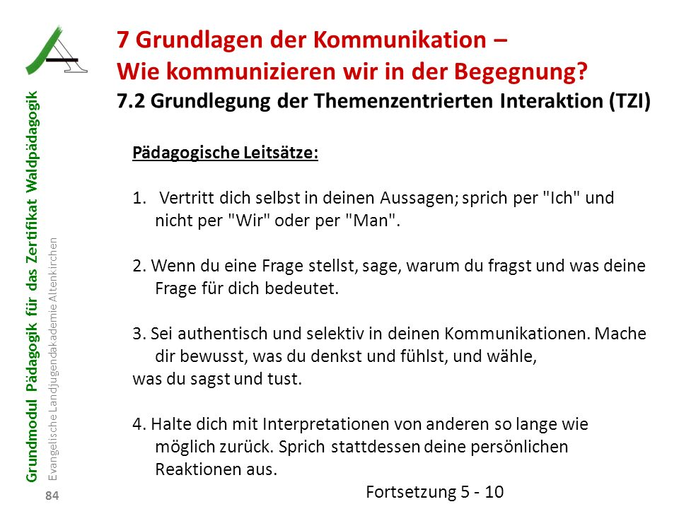 Grundmodul Pädagogik für das Zertifikat Waldpädagogik Evangelische Landjugendakademie Altenkirchen 84 7 Grundlagen der Kommunikation – Wie kommunizier