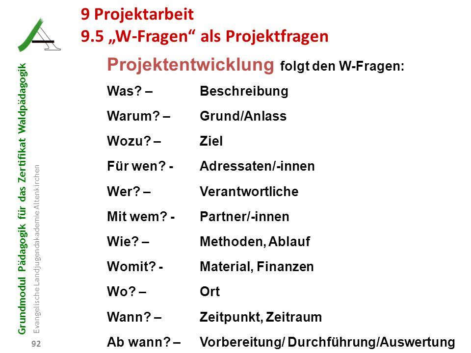 """Grundmodul Pädagogik für das Zertifikat Waldpädagogik Evangelische Landjugendakademie Altenkirchen 92 R B D W P 9 Projektarbeit 9.5 """"W-Fragen"""" als Pro"""