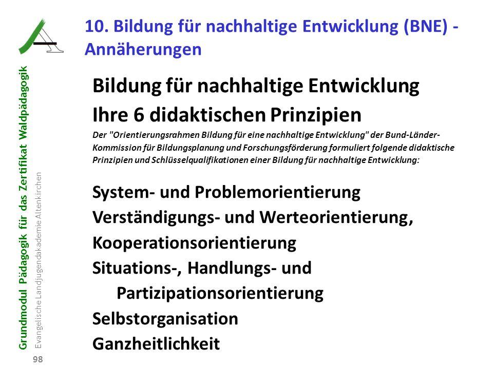 Grundmodul Pädagogik für das Zertifikat Waldpädagogik Evangelische Landjugendakademie Altenkirchen 98 10. Bildung für nachhaltige Entwicklung (BNE) -