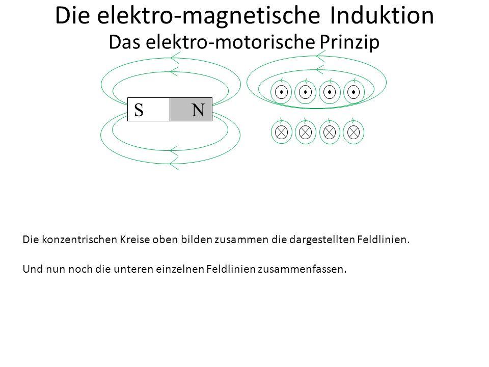 S N Die elektro-magnetische Induktion Das elektro-motorische Prinzip Das Feld der Spule sieht in diesem Fall genauso aus wie das des Dauermagneten.