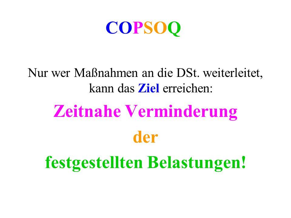 COPSOQ Nur wer Maßnahmen an die DSt. weiterleitet, kann das Ziel erreichen: Zeitnahe Verminderung der festgestellten Belastungen!