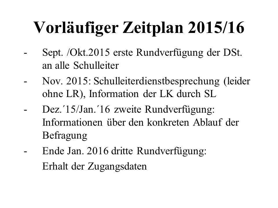 Vorläufiger Zeitplan 2015/16 -Sept. /Okt.2015 erste Rundverfügung der DSt. an alle Schulleiter -Nov. 2015: Schulleiterdienstbesprechung (leider ohne L