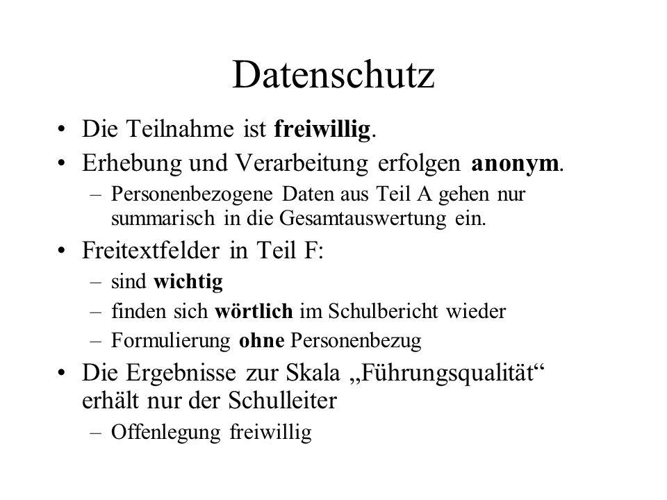 Datenschutz Die Teilnahme ist freiwillig. Erhebung und Verarbeitung erfolgen anonym. –Personenbezogene Daten aus Teil A gehen nur summarisch in die Ge