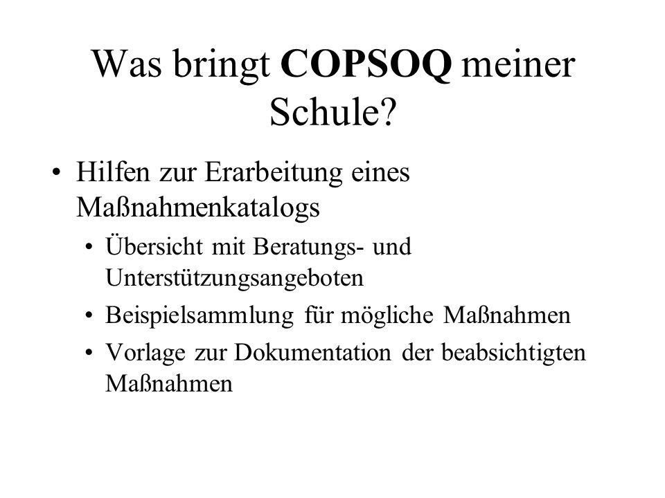 Was bringt COPSOQ meiner Schule? Hilfen zur Erarbeitung eines Maßnahmenkatalogs Übersicht mit Beratungs- und Unterstützungsangeboten Beispielsammlung