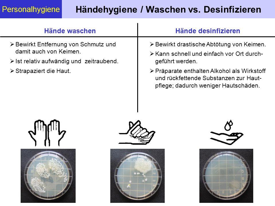 Personalhygiene Händehygiene / Waschen vs. Desinfizieren  Bewirkt Entfernung von Schmutz und damit auch von Keimen.  Ist relativ aufwändig und zeitr