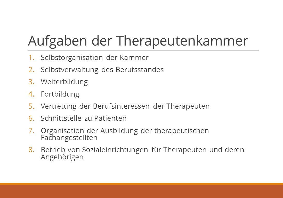 Aufgaben der Therapeutenkammer 1. Selbstorganisation der Kammer 2.