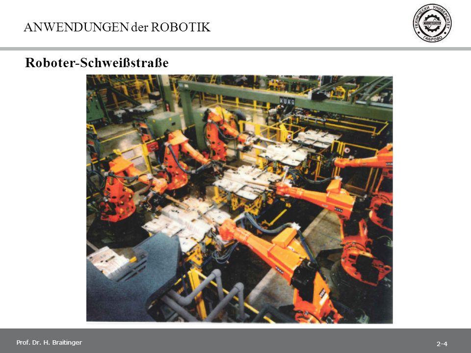 1 Prof. Dr. H. Braitinger ANWENDUNGEN der ROBOTIK Roboter-Schweißstraße 2-4