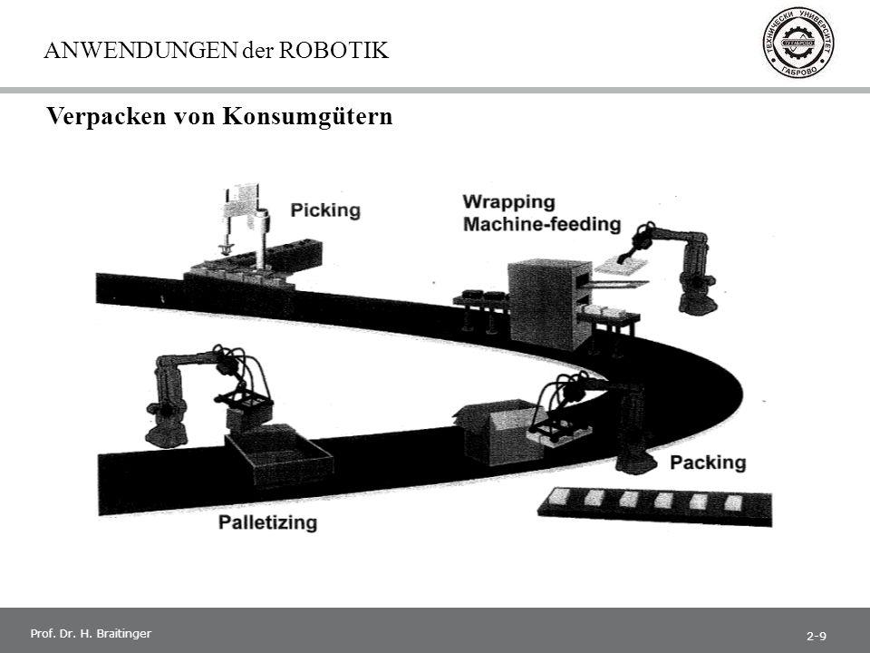 1 Prof. Dr. H. Braitinger ANWENDUNGEN der ROBOTIK Verpacken von Konsumgütern 2-9