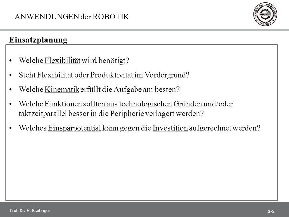 1 Prof. Dr. H. Braitinger ANWENDUNGEN der ROBOTIK Welche Flexibilität wird benötigt.