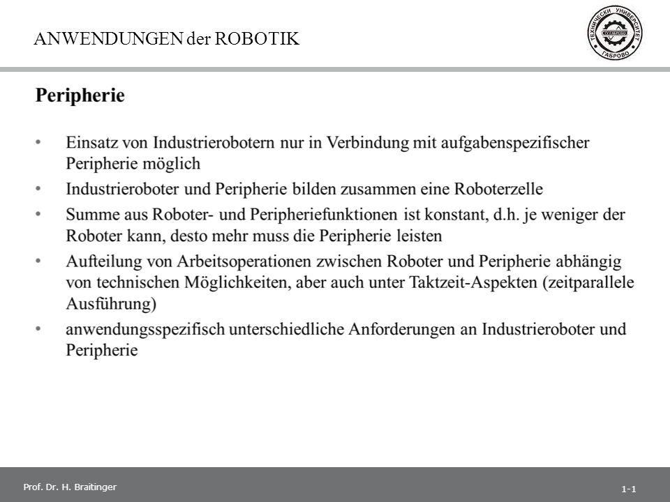 1 Prof. Dr. H. Braitinger ANWENDUNGEN der ROBOTIK 1-1