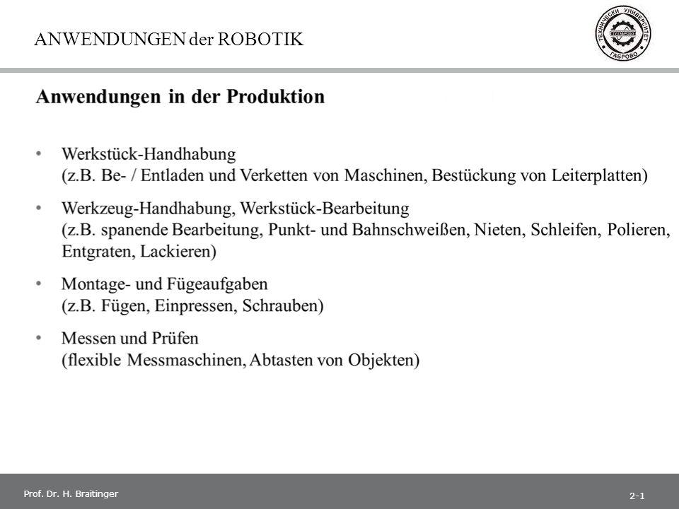 1 Prof. Dr. H. Braitinger ANWENDUNGEN der ROBOTIK 2-1