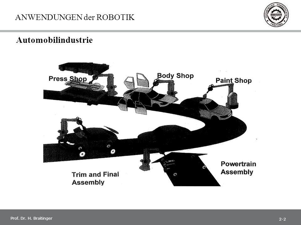 1 Prof. Dr. H. Braitinger ANWENDUNGEN der ROBOTIK Automobilindustrie 2-2