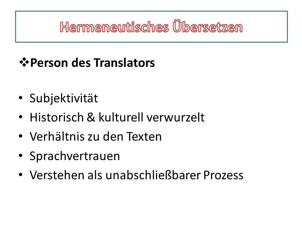 Übersetzergespräche 1  Person des Translators Subjektivität Historisch & kulturell verwurzelt Verhältnis zu den Texten Sprachvertrauen Verstehen als unabschließbarer Prozess