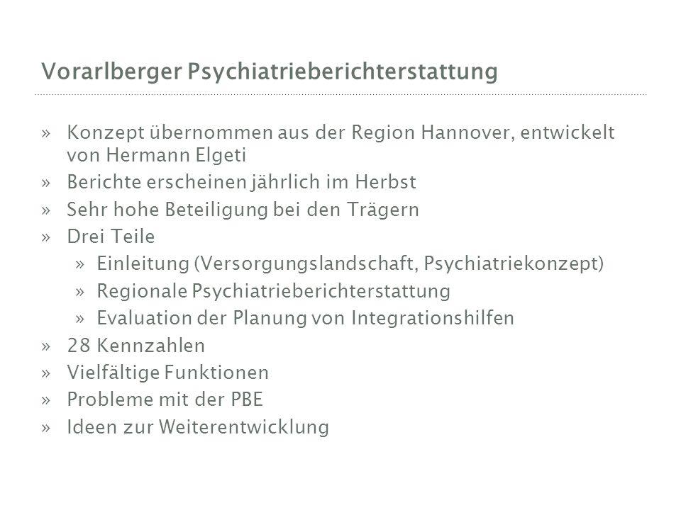Vorarlberger Psychiatrieberichterstattung »Konzept übernommen aus der Region Hannover, entwickelt von Hermann Elgeti »Berichte erscheinen jährlich im