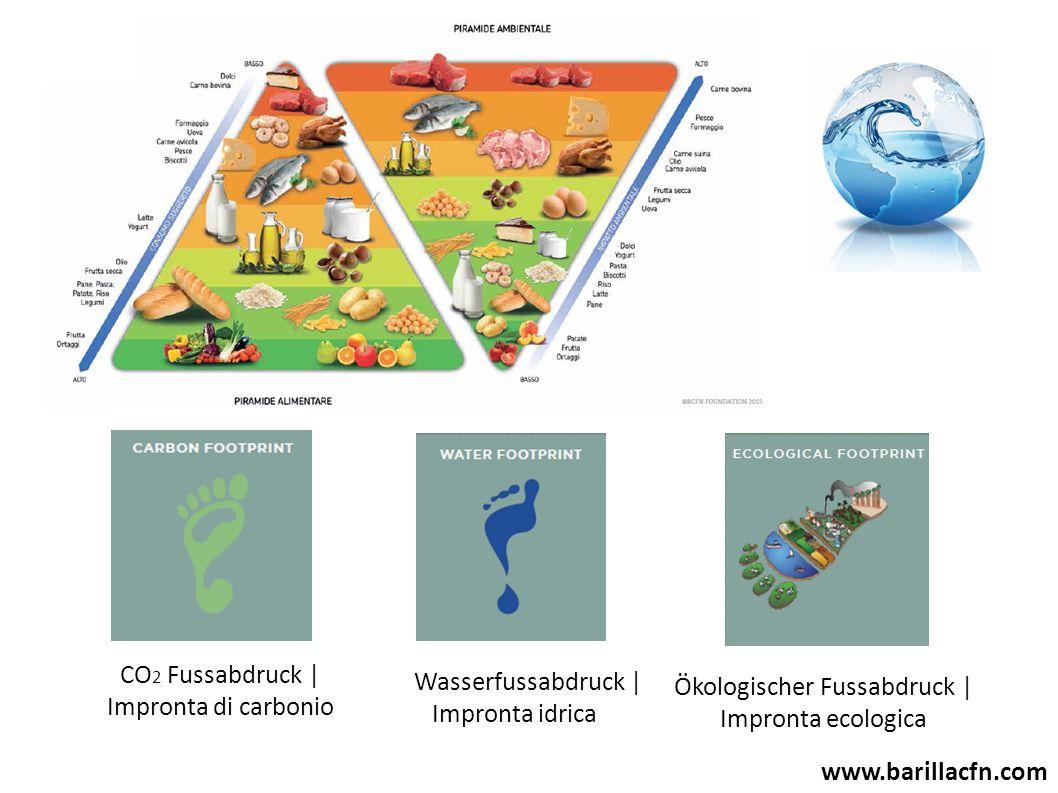 CO 2 Fussabdruck | Impronta di carbonio Wasserfussabdruck | Impronta idrica Ökologischer Fussabdruck | Impronta ecologica www.barillacfn.com