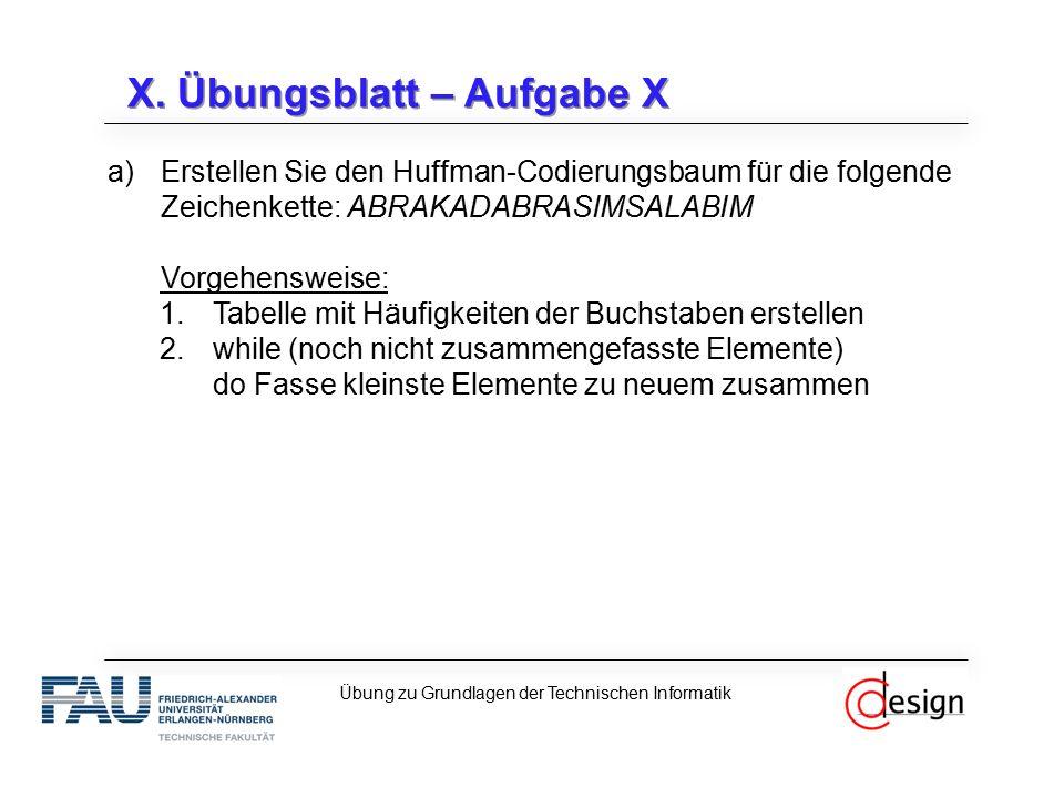 X. Übungsblatt – Aufgabe X a)Erstellen Sie den Huffman-Codierungsbaum für die folgende Zeichenkette: ABRAKADABRASIMSALABIM Vorgehensweise: 1.Tabelle m